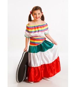 Disfraz de Mejicana Colores Infantil