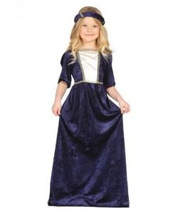 Disfraz de Dama Medieval Azul Infantil