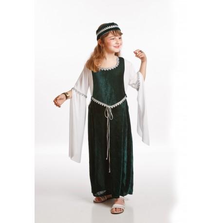 Disfraz de Dama Medieval Verde Infantil