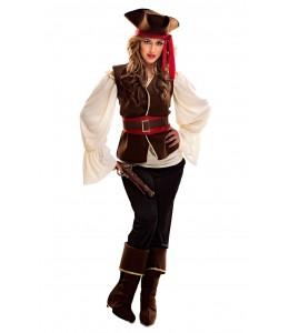 Disfraz de Pirata Bucanera Marron