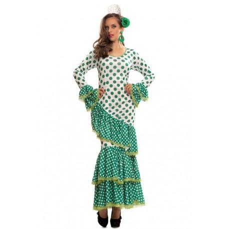 Comprar Disfraz de Sevillana Blanca con Lunar Verde por solo 24.00€ –  Tienda de disfraces online