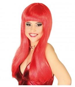 Peluca Melena con Flequillo Roja