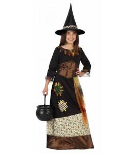Disfraz de Bruja Marron con Parches Niña
