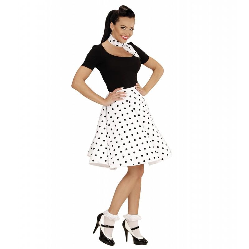 comprar falda blanca lunares negros por solo tienda de disfraces online. Black Bedroom Furniture Sets. Home Design Ideas