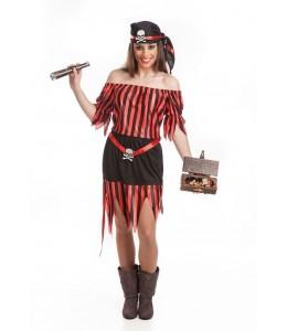 Disfraz de Piratesa Rayas Corta