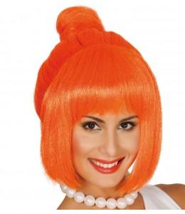 Peluca Cavernicola Naranja con Moño