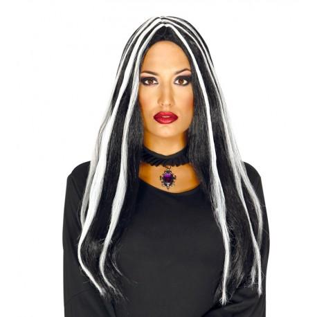 Peluca Melena Larga Negra con mechas Blancas