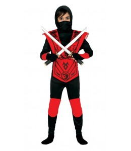 Disfraz de Ninja Negro y Rojo Infantil
