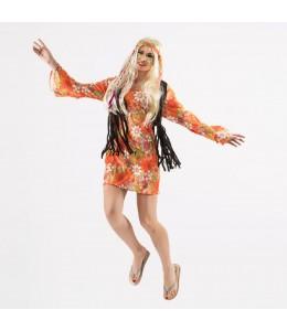 Disfraz de Hippie Naranja Mujer