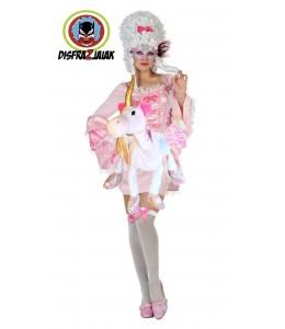 Disfraz de Cortesana rosa Unicornio