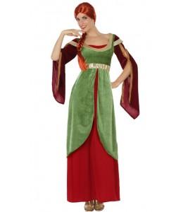 Disfraz de Dama Medieval Verde y Granate