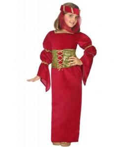Disfraz de Dama Medieval Granate Corpiño Infantil