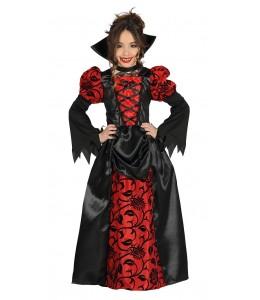 Fantasia de Vampira Gótica Vermelha Infantil