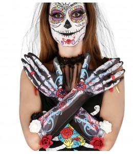 Guantes de Esqueleto con Flores