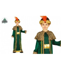 Disfraz de Rey Mago Verde Oro Infantil