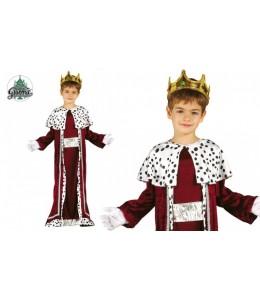 Disfraz de Rey Mago Granate Plata Infantil