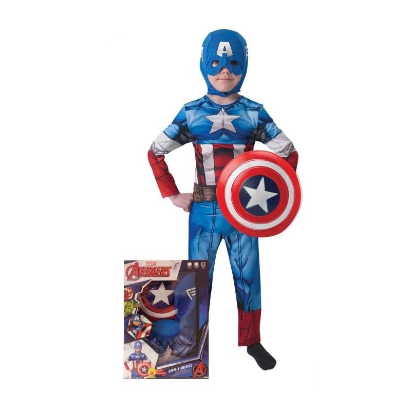 5609bc16294 Comprar Disfraz de Capitan America y Escudo en Caja Infantil por ...