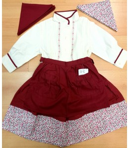 Set Home Stripe Maroon and bias Flowers with Beige