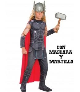 Disfraz de Thor con martillo y mascara