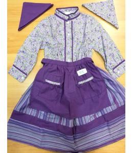 Set Home Flowers and Stripes Purple
