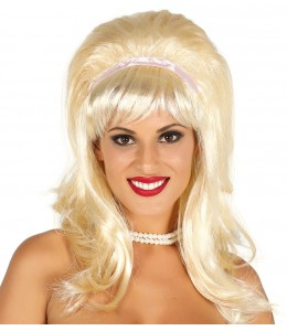 Wig 50's with Pink Ribbon