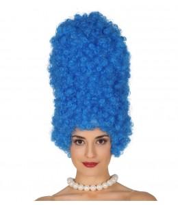 Peluca Rizos Azul Moño 40cm