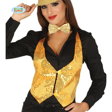 Chaleco Lentejuelas Oro Mujer