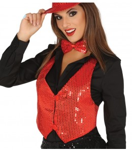 Chaleco Lentejuelas Rojo Mujer