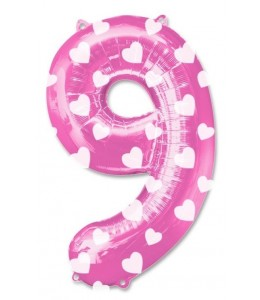Globo Rosa Numero 9 de Foil