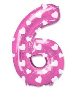 Globo Rosa Numero 6 de Foil