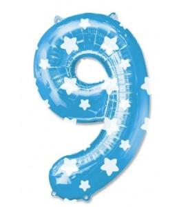 Globo Azul Numero 9 de Foil