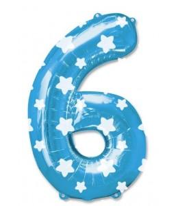 Globo Azul Numero 6 de Foil