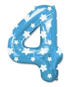 Globo Azul Numero 4 de Foil
