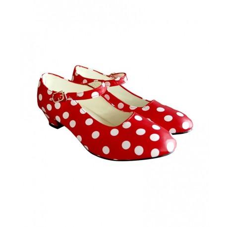 Zapatos Sevillana Rojos con Lunares Blancos Talla 23