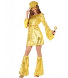 Disfraz de Disco Vestido Dorado