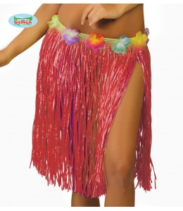 Falda Hawaiana con Flores de 45cm Paja