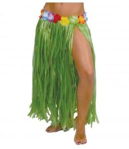 Falda Hawaiana con Flores de 75cm Amarilla