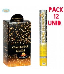 Pack 12 cañones de confettis oro