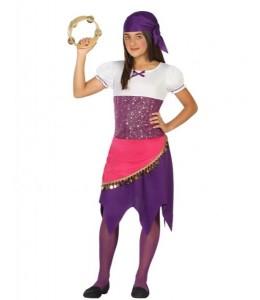 Disfraz de Zingara Morado Infantil