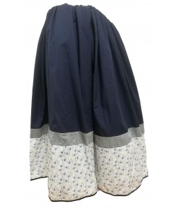 Skirt Homemade tri-color Blue with Flowers