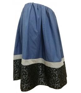 Falda Casera Tricolor Azul
