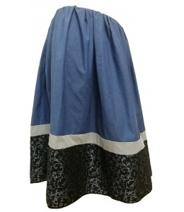 Skirt Homemade Tricolor Blue