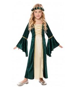 Costume De Dame Médiévale Vert Enfant