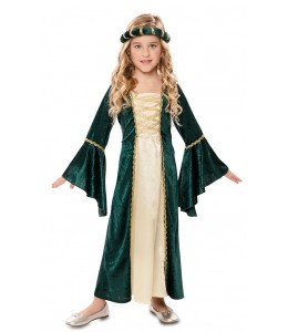 Disfarce de Empregada Medieval Verde Infantil