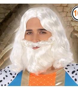 Perruque et Barbe de Roi Magicien Gris