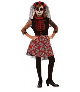Costume Catrina enfant Rouge