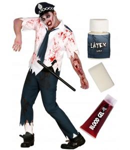 Disfraz de Policia zombie con set caracterizacion