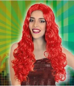 Wig Long Hair Wavy Red