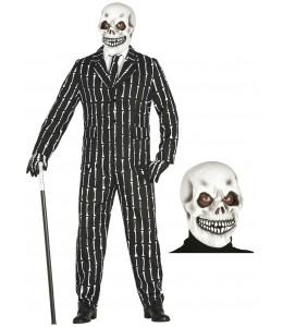 Disfraz de Esqueleto con traje y mascara