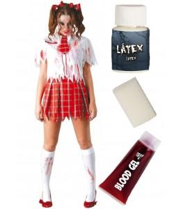 Disfraz de Colegiala Zombie con set de maquillaje